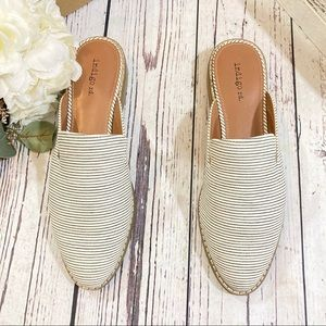 Indigo Hayze stripe canvas mules sandals NEW